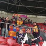 Getting ready for the match, Penya flag already in position