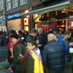 Barca fans gathered at a cafe before the match