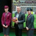 """Gary Lineker receiving a FC Barcelona football after """"winning"""" the penalty shootout competition, with Penya Blaugrana London"""