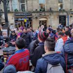 FCB fans enjoying pre-match celebrations in Shambles square