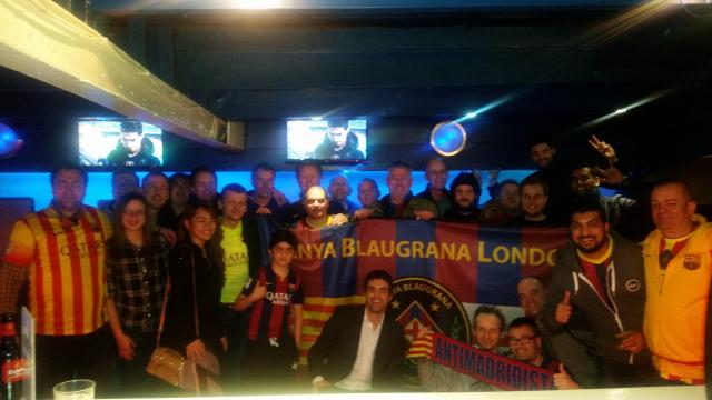Penya Blaugrana London celebrates Champions League win against Arsenal