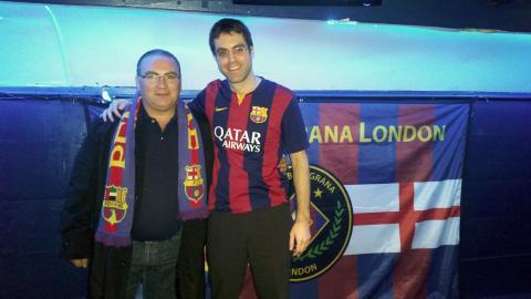 Mariano Andres, vice-president of Dubai FCB penya, and Eduard Manas, president of Penya Blaugrana London