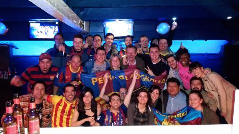 Penya Blaugrana London celebrating a fantastic Champions League victory against Bayer Munich
