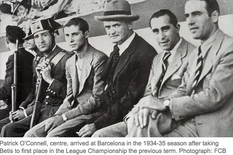 Patrick O'Connell, center,, manager of FC Barcelona during 1935-40