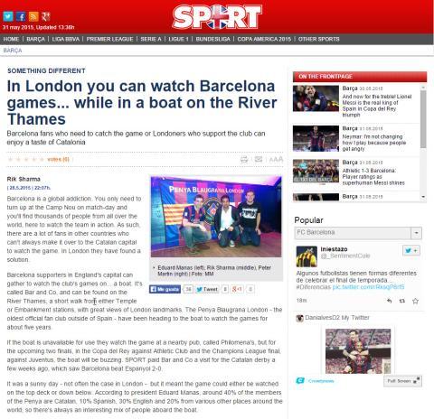 Penya Blaugrana London in Sport