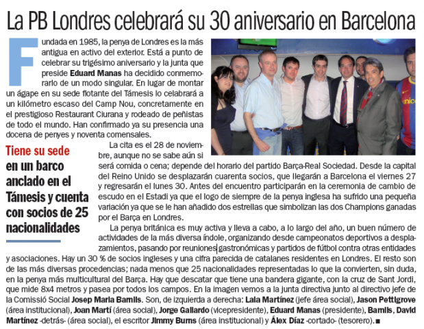 PB London in diari Sport, talking about 30th anniversary