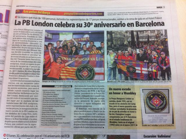 Penya Blaugrana London in Mundo Deportivo - 30th Penya Anniversary