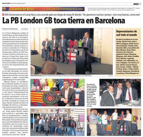 Penya Blaugrana London in Mundo Deportivo - 30th Penya Anniversary