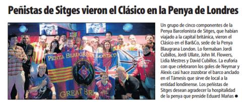 Penya Blaugrana London with Penya Sitges at the clasico October 2013
