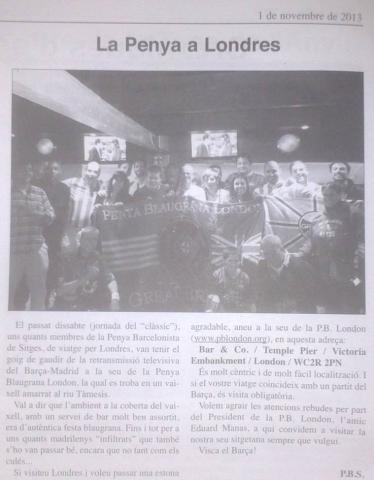 Penya Blaugrana London in the local Sitges newspaper