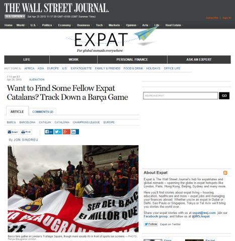Penya Blaugrana London fans at The Wall Street Journal